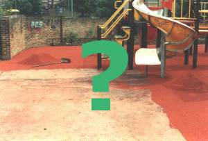 Playground surfacing with question mark