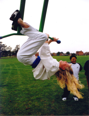 Girl hang swinging